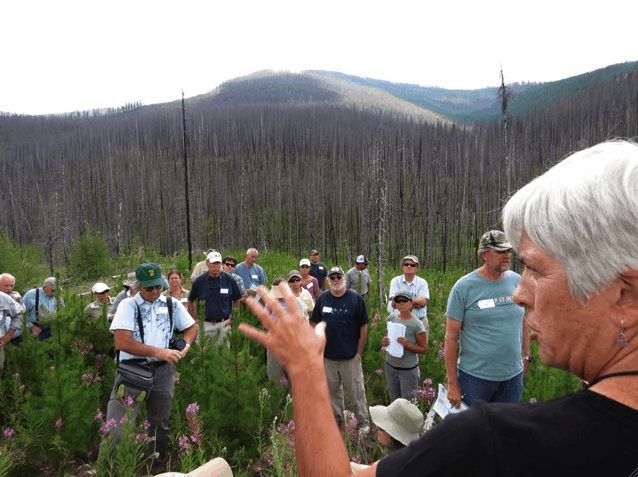 Snapshot of the Flathead National Forest (MT) Plan Revision field tour on the Tally Lake Ranger District, August 2013. That's New Century of Forest Planning commenter Dave Skinner with the camera, green hat and snazzy shirt. Photo by Keith Hammer.